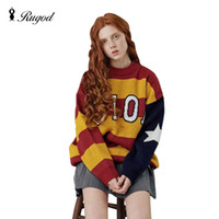 Wholesale Thick Knitwear Women - Wholesale- New Arrival Ins Oioi Womens Boyfriend Knitted Sweaters And Pullovers Loose Striped Thick O-Neck Fashion Tops Knitwear Pull Fem