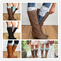 Wholesale Wholesale Fashion Knee High Boot - New Stretch Lace Boot Cuffs 12 Colors High Quality Women Flower Leg Warmers Lace Trim Toppers lace Socks 3945
