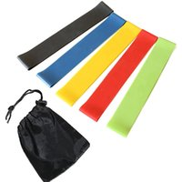 Wholesale Natural Exercises - Yoga Pilates Stretch Resistance Bands Set Exercise Fitness Loop Training Yoga Tension Belt Elastic Stretch Band Natural Latex 5pcs set