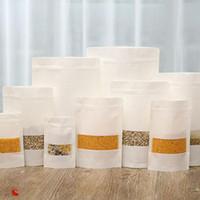 kağıtlar için zip torbalarda toptan satış-Beyaz Kraft Kağıt Mylar Zip Kilit Doypack Çantası Gıda Çay Aperatif Paketi Saklama Torbaları Stand Up Ambalaj Kilitli ZA4168