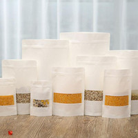tee verpackung kraft großhandel-Weißes Kraftpapier Mylar Zip Lock Doypack Beutel Lebensmittel Tee Snack Paket Aufbewahrungsbeutel Stand Up Packaging Ziplock ZA4168