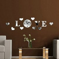 "Wholesale Word Wall Clocks - Wholesale-Modern Design Wall Clock DIY Large ""Love"" Word Pattern Movement Home Decoration 3D Crystal Mirror Living Room reloj de pared -OJ"