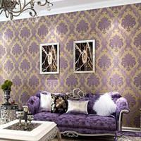 Wholesale modern damask wallpaper - Wholesale- Damask Wallpaper for Walls 3D LivingRoom Vintage Classic Black Purple Wall Paper Vinyl