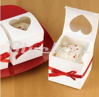 Wholesale Clear Single Cupcake Boxes Wholesale - Wholesale- Free Shipping Clear Heart Window Paper Single Cupcake Cake Box Wedding Favor Gift Box With Red Sitan Ribbon