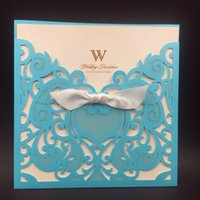 Wholesale Wedding Invitation Pocket Envelopes - Wholesale- Tiffany Blue 12pc Wedding Party Invitation Card Romantic Cards Envelope Pocket Laser cut Wedding Invitations Card Christmas card