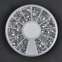 Wholesale Diamond Glitter Nail Art - Wholesale-1700 PCS 1.5mm 3D Diy Nail Rhinestones Glitter Diamond Gems Nail Tips Nail Art Beauty Decoration Wheel NA997