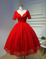 Wholesale Short Dresess - 2017 New Red Lace Ball Gown Prom Dresess Plus Size Knee Length V-Neck Lace Up Short Sleeves Party Evening Gowns Vestido De Festa
