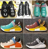 2018 NMD Human Race Runner Boost, corredores y entrenadores de Pharrell NMD Boost Running Shoes, raza Hu Williams Pharrell x blanco, rojo, amarillo