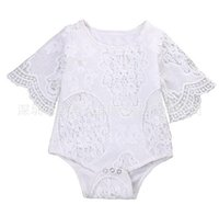 Wholesale Halloween Short Sleeves Baby - Baby INS flower lace Rompers Girl Cotton Solid color Bat sleeve lace romper 2018 New baby clothes 0-2years