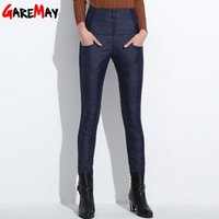 Wholesale Trousers Women Elegant - Down Pants Warm Women Elegant Trousers Elastic Waist Feminino 2016 Winter Thicken Pencil Pants High Waist Office Pants For Women