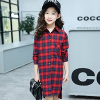 Wholesale period clothing online - Children s clothes girls shirt letters long grid in the spring and autumn period and the new cuhk boy girl shirt hot style