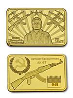 Wholesale commemorative coin gift - Gun King Kalashnikov AK-47 craft Counter-Strike Gold Plated Commemorative Coin Token