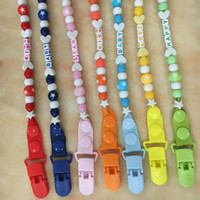Wholesale Dummy Hands - Wholesale-New New Baby Pacifier Clips Chain Hand Made Funny Silicone Teething Beads Dummy Clip Baby Soother Holder For Baby Kid