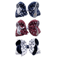 Wholesale Polka Dots Grosgrain Ribbon - Polka Dot Hair Bow With Clip Barrette Hollow New Designer Double Layers Grosgrain Ribbon HairPins For School Girl