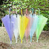 Wholesale Child Transparent Umbrella - Children Transparent Umbrella Clear PVC Raining Umbrellas Sunshade Long handle Kids Outdoor Wedding Beach Colorful Umbrella Free DHL 66