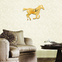 Wholesale Wall Stickers Horses - Horse Shape Mirror Surface Wall clocks Eco-Friendly 3D DIY Animal Sticker With Real Clock For Living Room alarm clock movement