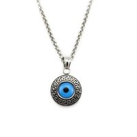 Wholesale Evil Eye Pendants - Turkish Evil Eye Amulet 316L Stainless Steel Necklace Greek Key Pendant Charm Nazar Boncuk For Men Women