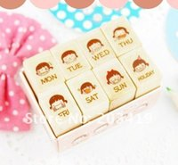 Wholesale Wood Carved Diy Gifts - Wholesale- 8pc set Wooden girl week face expression Stamps set block seal stamper DIY diary carved gift craft handwork whcn