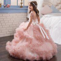 Wholesale Cheap Purple Christmas Stockings - Stock Cloud Princess Flower Girl Dresses Short Sleeve Sheer Jewel Neck Cheap First Communion Dresses Crystal Birthday Party Gowns MC1290