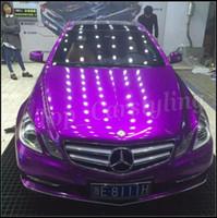 carros metálicos venda por atacado-Roxo BRILHANTE Vinil CAR WRAP FILME com canal de ar METÁLICO violeta Adesivo Car styling FOILE Tamanho 1.52x20m / Roll