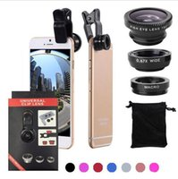 Wholesale Wide Angle Packaging - 3 In 1 Universal Clip Camera Mobile Phone Lens Fish Eye + Macro + Wide Angle For iPhone 7 Samsung Galaxy S8 with retail package