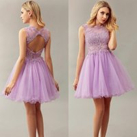 Wholesale Homecoming Coctail Dresses - Sexy Lilac Short Mini Cocktail Dresses 2016 Lace Coctail Robe De Cocktail Party Prom Dress Homecoming Dresses