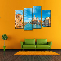4 Panels Paisagem Canvas Paintings Wall Art Imagens de cenários de Veneza Print On Canvas Artwork For Home Decor With Wooden Framed Ready to Hang