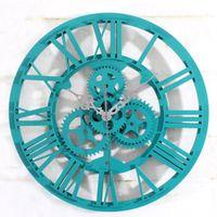 Discount Antique Silver Wall Clock   Wholesale  European Antique 3D Cool Wall  Clock Wheel Gear