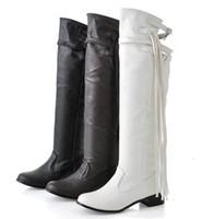 botas marrones para el invierno al por mayor-Envío libre-Nueva llegada de la venta caliente de las mujeres de tacón plano de moda sobre borla de la rodilla botas casuales de invierno Cadenas de Brown Negro zapatos de gran tamaño botas 609