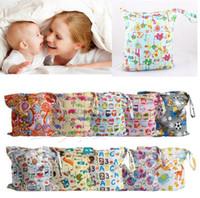 Wholesale Reusable Baby Diaper Bags - 48 design Baby Nappy Reusable Washable Wet Dry Cloth Zipper Waterproof Diaper Bag Infant Nappy Stacker Storage Bag KKA2247