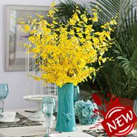 Wholesale Wedding 98 - Vintage Artificial Flowers Oncidium hybridum 98 CM 38.6 inch Phalaenopsis for Party Home Wedding Bouquet Decoration