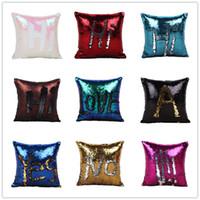 Wholesale Home Decor Pillow Covers - wholesale-Double Sequin Pillow Case Bedding Supplies Cushion Cover Home Sofa Car Decor Bright Pillow Case Pillowslip A0690
