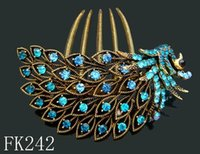 Wholesale Blue Peacock Combs - Wholesale fashion women vintage hair jewelry Zinc alloy rhinestone peacock hair combs hair accessories 12pcs lot Mixed