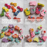 Wholesale Wholesale Wooden Wood Letters - Fashion Cute 50pcs Mixed Multicolor Animal Loose Flat Wood Spacer Wooden Beads Jewelry Craft Necklace Bracelet