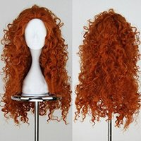 Wholesale Long Hair Wig For Men - Costumes Accessories Costumes Movie Brave Long Curly Princess Merida Cosplay Wig for Cosplay orange hair with hair net