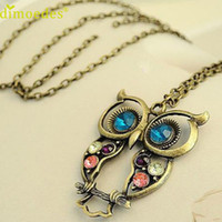 Wholesale Crystal Stainless Steel Collar - Wholesale- Diomedes Gussy Life Fashion Lady Crystal Big Blue Eyed Owl Long Chain Pendant Sweater Coat Necklace Collar Escudo Dec1