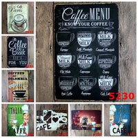 Wholesale Decorative Wall Plaques - Wholesale- Retro Hot Coffee Metal Tin Sign Caffe Open Signage Home Decor Wall Art Painting Plaque Vintage Cafe Shop Decorative Metal Sign