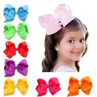 Wholesale Grosgrain Ribbon Blue Solid - Baby Large Grosgrain Ribbon Bow Hairpin Clips Girls Large Bowknot Barrette Kids Hair Boutique Bows Children Hair Accessories Christmas Gifts