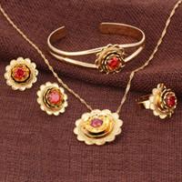 brazaletes de oro 18k de rubí al por mayor-Borde decorativo Real 18k Oro Sólido GF CZ Conjunto de Flores Collar Colgante de Joyería Pendientes de Brazalete Anillo Rubí Rubí Esmeralda Amatista