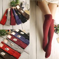 Wholesale thick thigh high socks - Wholesale-1pair Women Fashion socks Autumn winter long Knee Thick socks Women's Cotton Thigh High Sexy Socks Winter Boot Socks Wholesale