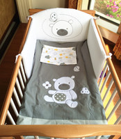 Wholesale Baby Bedding Comforters - Pali infant crib bedding set 4PCS baby comforter quilt pillow cover bear cotton embroidered bumper pad
