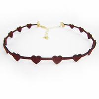 Wholesale Sweet Red Wine Wholesale - Fashion Sweet heart Love Choker Red Wine Carved Velvet Leather Collar Gold Plated Graceful Choker Wholesale Hot sale