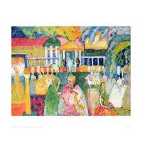 pinturas abstratas senhora venda por atacado-Arte abstrata moderna Wassily Kandinsky pinturas a óleo Da Lona Senhoras em Crinolines pintados à mão decoração da parede