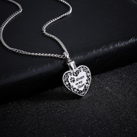 Wholesale Mu White - Heart Urn Pendant Cremation Ashes Necklace Memorial Personalized Locket Necklace Engraved Puppy Claw Always In Mu Hearts Jewelry