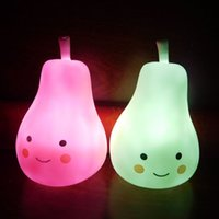 Atacado- Candy Color Pear Shape Light Children Silicone Light-Up Brinquedos Kid Room Decorated Pear Night Light Lamp