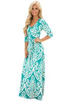 Wholesale Damask Sashes - CRYG Women Fashion Damask Print Boho Dress Wrap V Neck 3 4 Long Sleeves Sash Tie Autumn Casual Long Dresses