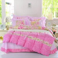 Wholesale Lace Quilt Cover - Hot sales Luxury Bedding Set pink Hello Kitty Bedding Supplies 4pcs  set quilt cover  Bed Sheet   2 pillow case queen size Home Textiles