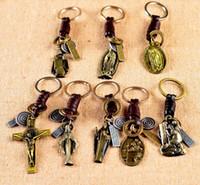 Wholesale Plastic Jesus Pieces - Hot sale Retro Alloy Jesus Cross Keychain Creative Christian Souvenirs KR181 Keychains mix order 20 pieces a lot
