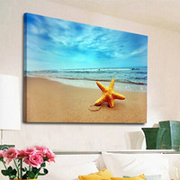 Wholesale Blue Wall Decor Art Canvas - Starfish Picture Blue Sky Beach Plant Canvas Painting Home Decor Canvas Wall Art Picture Digital Art Print for Living Room