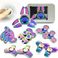 Wholesale Metal Ufo Toy - UFO Rainbow Fidget Spinner Decompression Hand Toy Kirsite Plated Fidget Colorful EDC Tri Spinner Toys with the Retail box OTH424
